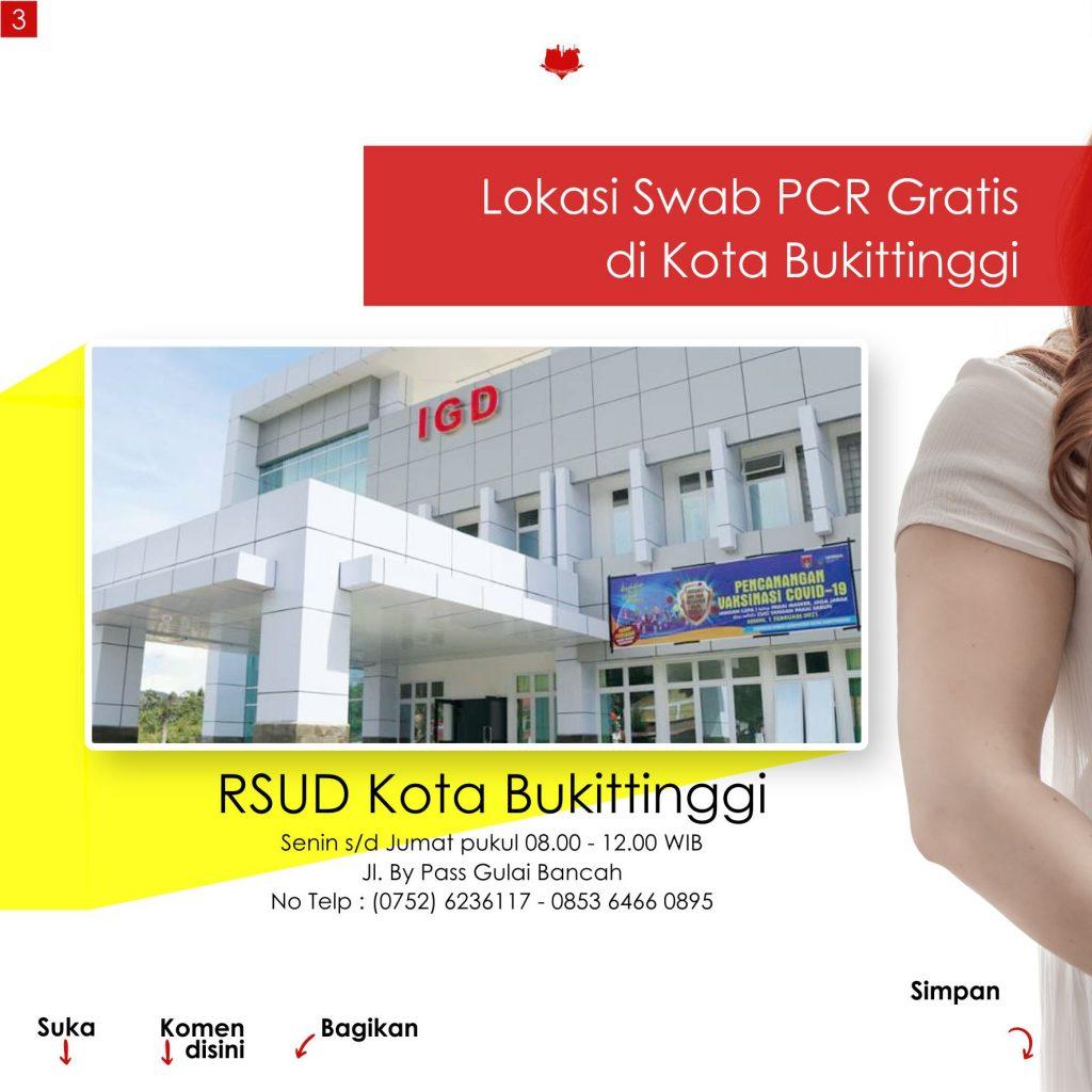 Jadwal Swab PCR Gratis di Kota Bukittinggi